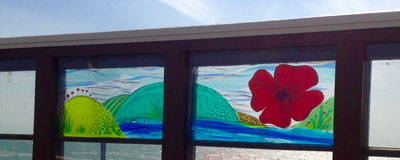 Worthing Windows on the Pier Worthing Journal Great War Memorial Poppies Fused Stained Leaded Glass